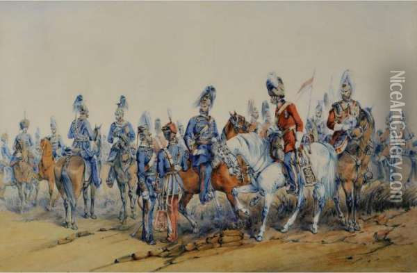 The British Cavalry Oil Painting - Orlando Norie