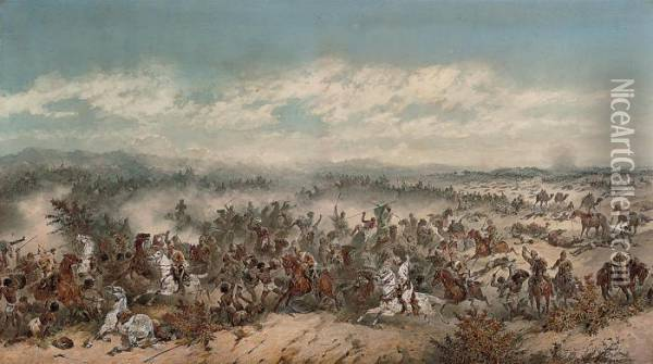 The Charge Of The 10th Hussars At The Battle Of El Teb Oil Painting - Orlando Norie