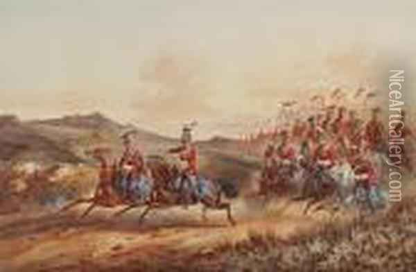 Cavalry Advancing Oil Painting - Orlando Norie