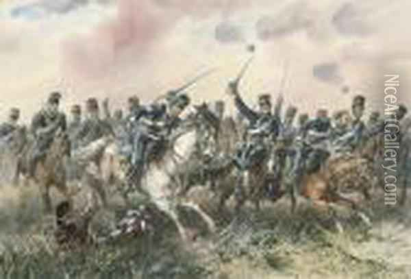 The Charge Of The Light Cavalry At Balaclava Oil Painting - Orlando Norie