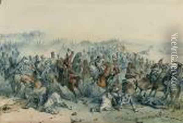 Two Scenes From The Crimean War Oil Painting - Orlando Norie