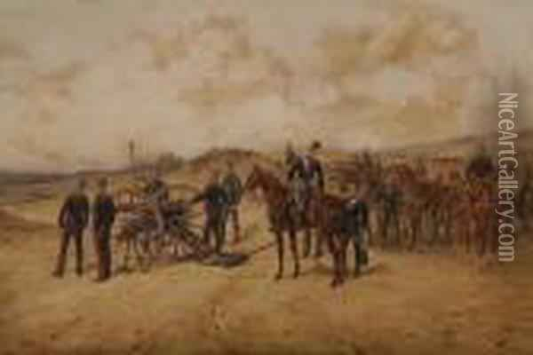 An Artillery Unit On Exercise Oil Painting - Orlando Norie
