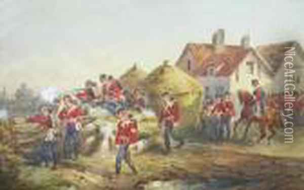 Scots Infantry Firing From Cover Near A Farmhouse With Mounted Officer To The Rear Oil Painting - Orlando Norie