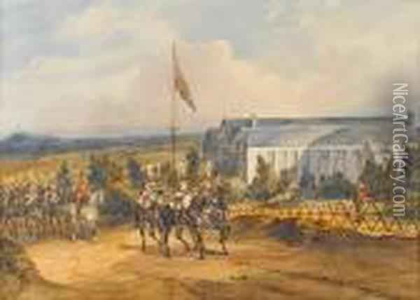 The Queen's Life Guards Outside The Royalpavilion, Aldershot Oil Painting - Orlando Norie