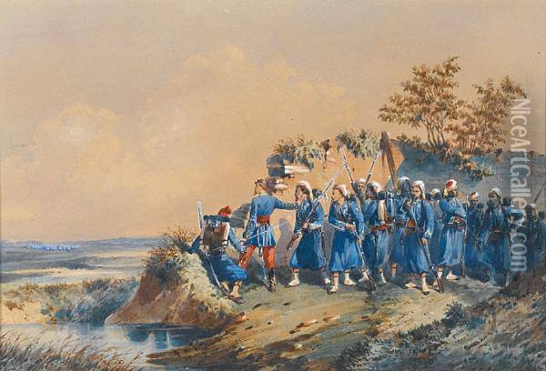 French Zwarvs On Manoeuvres Oil Painting - Orlando Norie