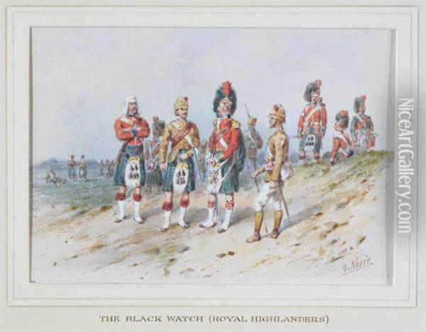 The Black Watch (royal  Highlanders); The 42nd Royal Highlandregiment Of Foot, 1860; A Soldier  From A Highland Regiment Oil Painting - Orlando Norie