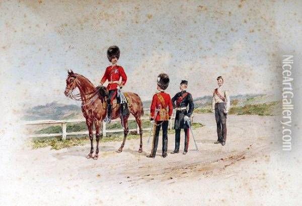 Grenadier Guards, Depicted Mounted And Standing In Assorted Ranksand Uniforms Oil Painting - Orlando Norie