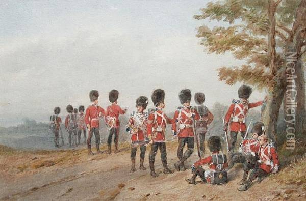 Grenadier Guards On Exercise Oil Painting - Orlando Norie