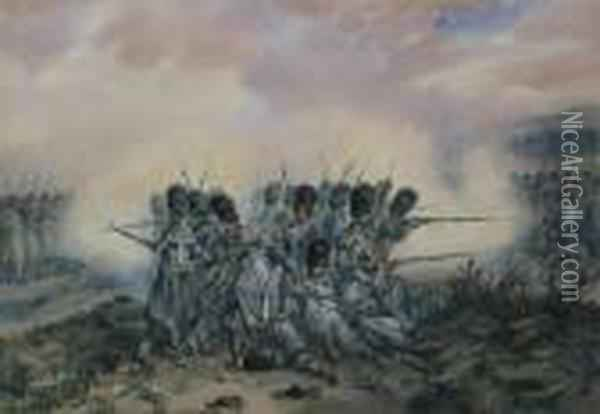 The Last Stand Of The French At Waterloo Oil Painting - Orlando Norie