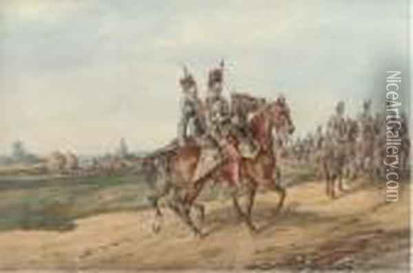 Lieut. Robert Dinmore Napier With Brother Officers Of The 11th Hussars (1856-1859) Oil Painting - Orlando Norie
