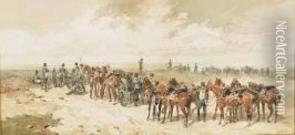 Unit Of The Royal Horse Artillery Preparing For Battle Oil Painting - Orlando Norie