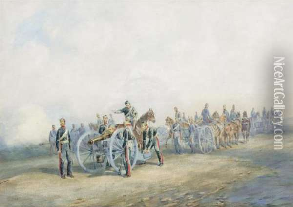 The Royal Artillery At Firing Practice Oil Painting - Orlando Norie