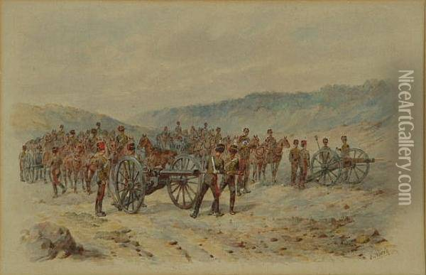 'royal Horse Artillery At The Gallop' And 'royal Horse Artillery Preparing To Fire' Oil Painting - Orlando Norie
