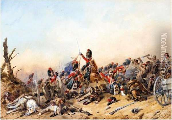 A Group Of Watercoloursshowing Scenes During The Battle Of Balaklava Oil Painting - Orlando Norie
