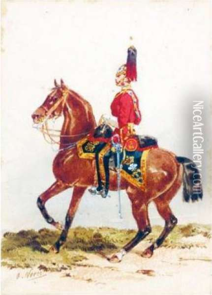 An Officer Of The Third Dragoon Guards; An Officer Of The Royal Horse Artillery Oil Painting - Orlando Norie
