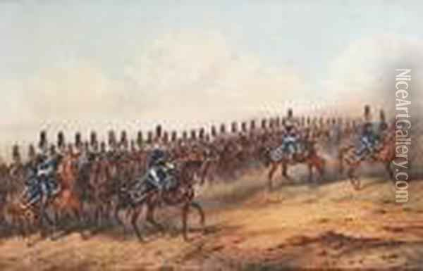 The 6th Dragoon Guards (carabiniers) On Manoeuvres Oil Painting - Orlando Norie