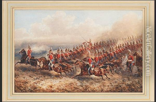 The 4th Royal Irish Dragoon Guards Charging Oil Painting - Orlando Norie