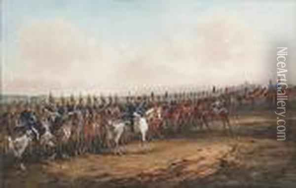 The Mounted Band Of 6th Dragoon Guards (carabiniers) Oil Painting - Orlando Norie