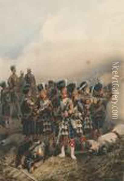 The 93rd Sutherland Highlanders Engaging The Enemy Oil Painting - Orlando Norie