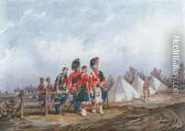 Field Officers Of The 42nd Royal Highlanders At Camp Oil Painting - Orlando Norie