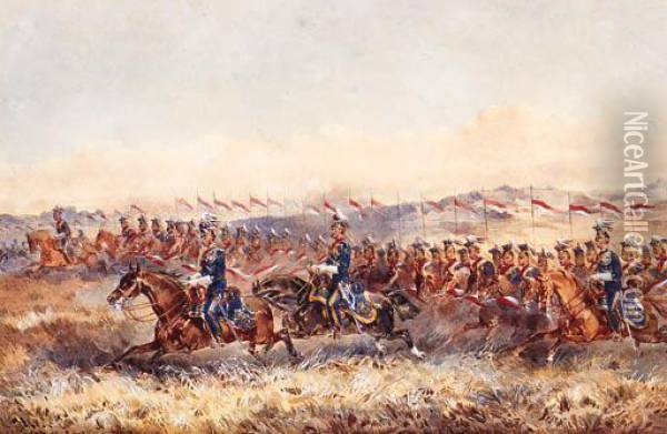 The Charge Of The 9th Royal Lancers Oil Painting - Orlando Norie