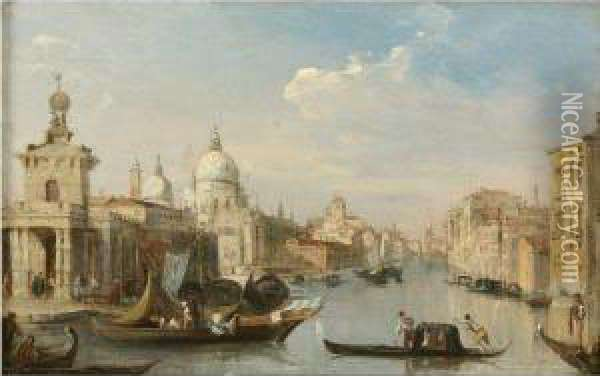 The Entrance To The Grand Canal With The Church Of Santa Mariadella Salute, Venice Oil Painting - Edward Pritchett