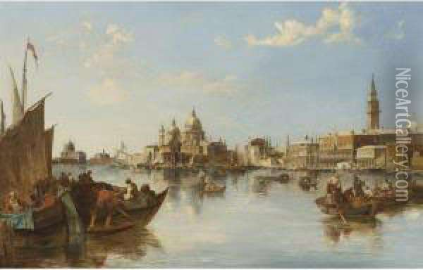 Gondolas And Fishing Boats At The Mouth Of The Grand Canal,venice Oil Painting - Edward Pritchett