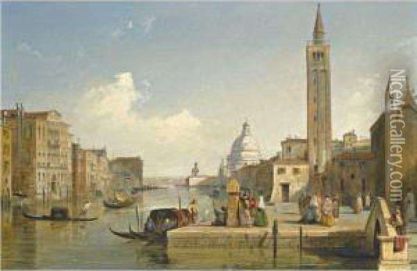 View Of The Grand Canal, With The Church Of Santa Maria Dellasalute, Venice Oil Painting - Edward Pritchett