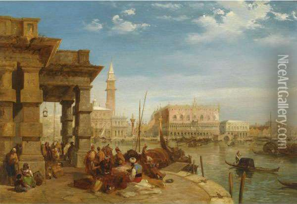 The Doge's Palace From The Dogana Oil Painting - Edward Pritchett