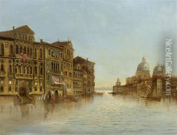 View Of Venice. Oil Painting - Edward Pritchett