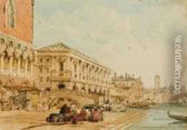 Travellers Beside The Doge's Palace Oil Painting - Edward Pritchett