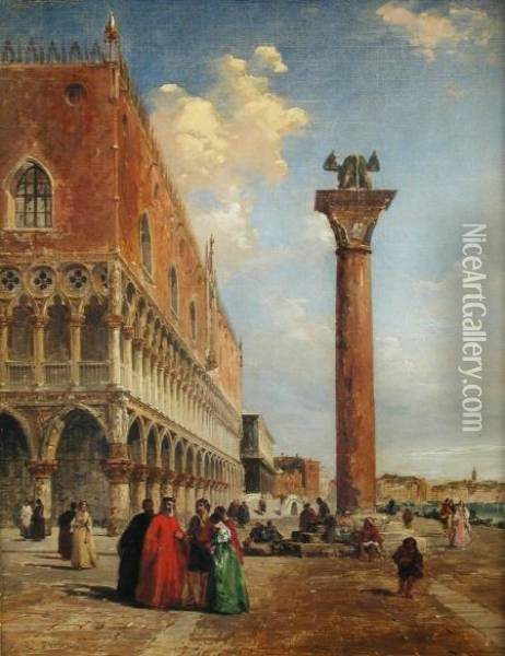 View From Piazza San Marco Looking Towards The Ponte Della Paglia Oil Painting - Edward Pritchett