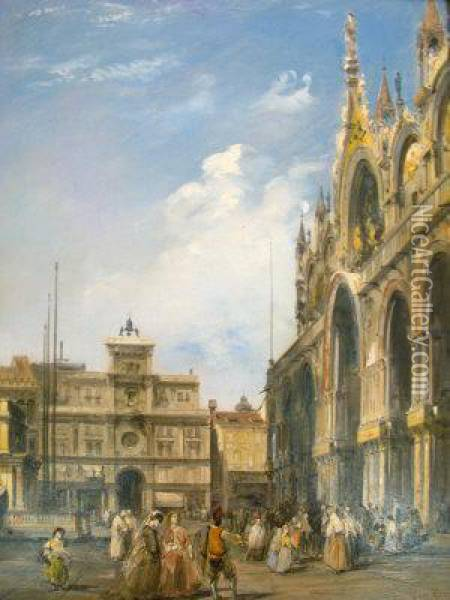 The Entrance To The Cathedral Of San Marco Oil Painting - Edward Pritchett