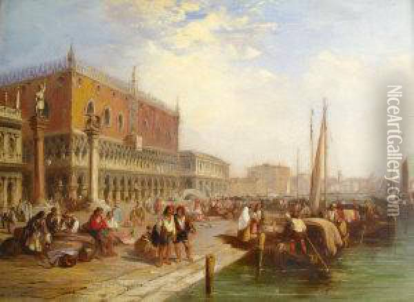 The Quay At Venice With The Palazzo Ducale Oil Painting - Edward Pritchett