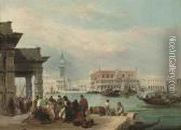 The Molo, From The Dogana, Venice Oil Painting - Edward Pritchett