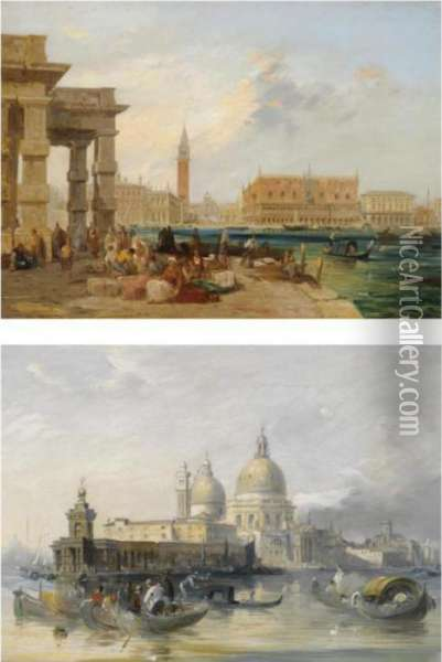 The Dogana, Venice Oil Painting - Edward Pritchett