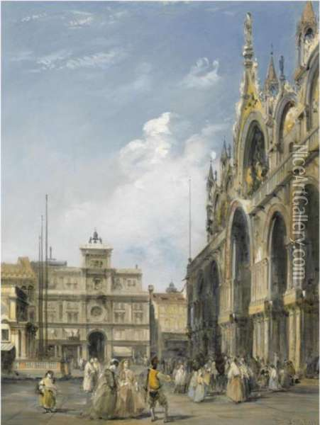 The Entrance To The Cathedral Of San Marco, Venice Oil Painting - Edward Pritchett