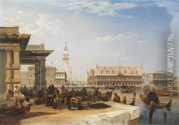 Vue De Venise Oil Painting - Edward Pritchett