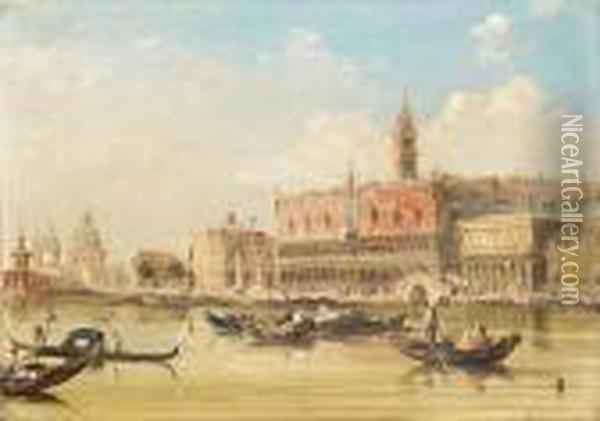 A View Of The Doge's Palace From  St Mark's Square; A View Of St Mark's Square From The Grand Canal Oil Painting - Edward Pritchett