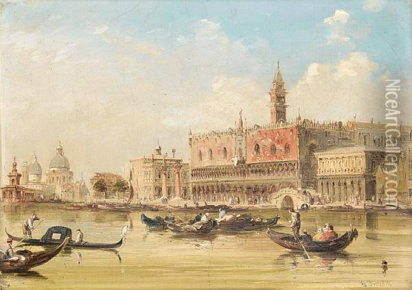 A View Of The Doge's Palace From St Mark's Square Oil Painting - Edward Pritchett