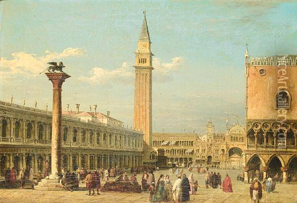 A View Of St Mark's Square From The Grand Canal Oil Painting - Edward Pritchett