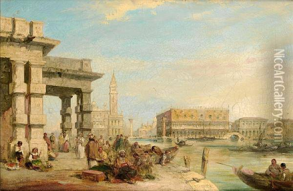 View Of St Mark's Square From The Doge's Palace, Venice Oil Painting - Edward Pritchett