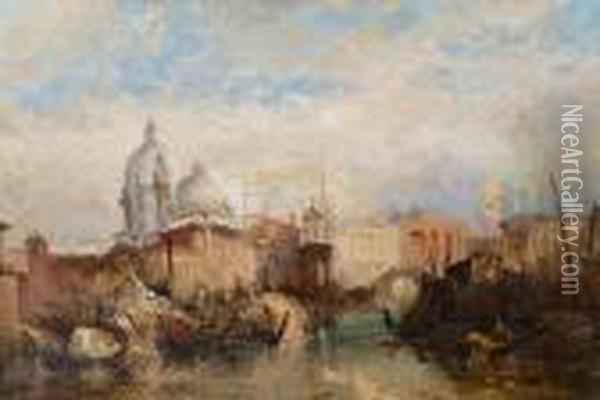 On The Grand Canal, Venice Oil Painting - Edward Pritchett