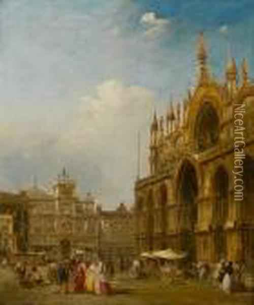 Figures In St Mark's Square; Figures Outside The Basilica Of St Mark Oil Painting - Edward Pritchett