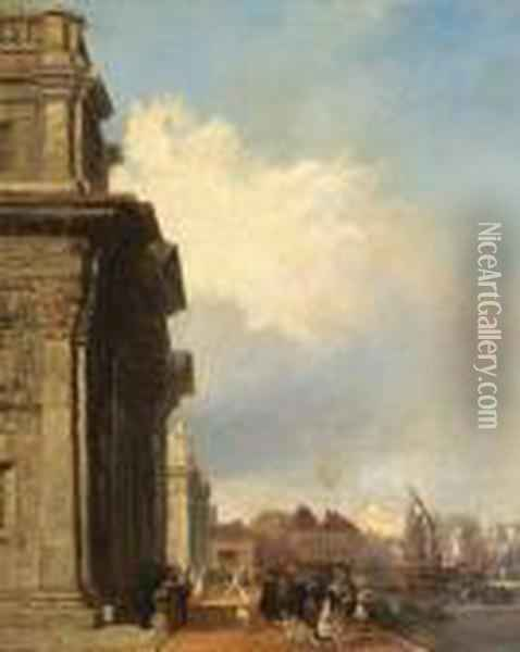 A View Of Greenwich Hospital With Figures On The Quay Oil Painting - Edward Pritchett