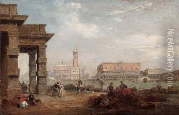 The Doge's Palace From The Dogana, Venice Oil Painting - Edward Pritchett