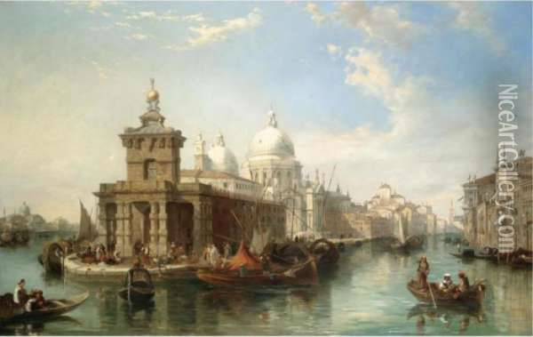 The Church Of The Salute, Venice Oil Painting - Edward Pritchett