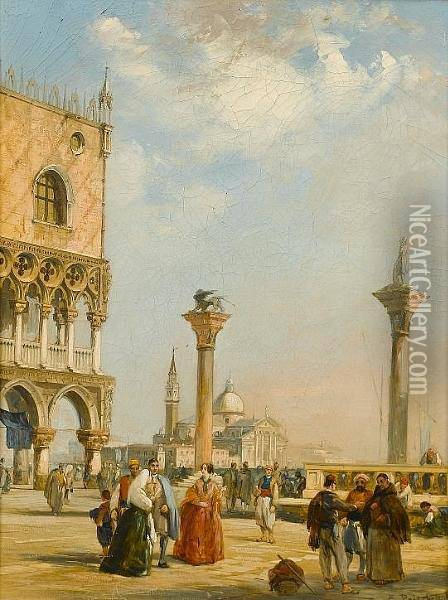 Figures In St. Marks Square, Venice; Figures In A Continental Town Oil Painting - Edward Pritchett