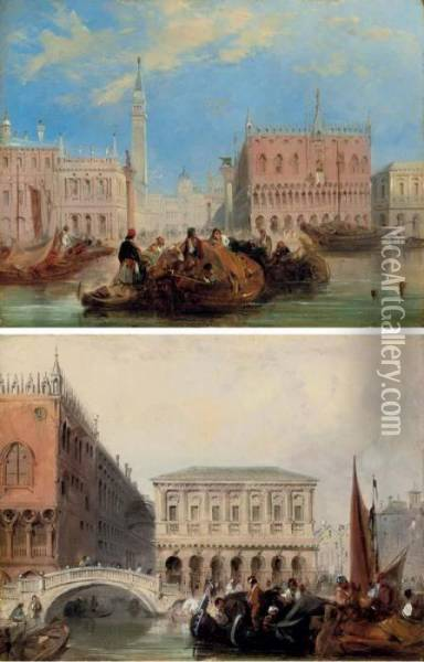 The Piazzetta; And The Bridge Of Sighs, Venice Oil Painting - Edward Pritchett