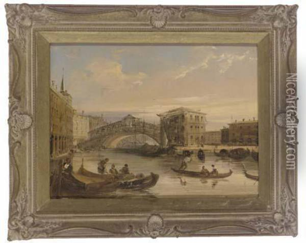 On The Grand Canal Oil Painting - Edward Pritchett